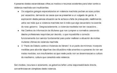 Comunicado da PFG: Novo feminicidio na Galiza